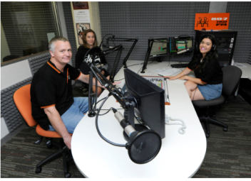 John Logan with university broadcast student Dana Alhuneidi and school work experience student Brandon Alivojvodic.