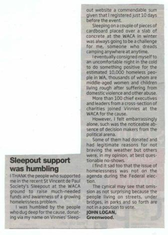 Sleepout article